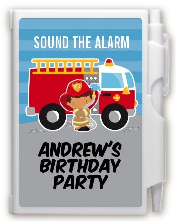 Future Firefighter - Birthday Party Personalized Notebook Favor Caucasian Boy