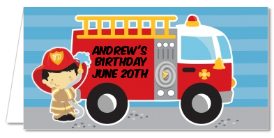 Future Firefighter - Personalized Birthday Party Place Cards Caucasian Boy