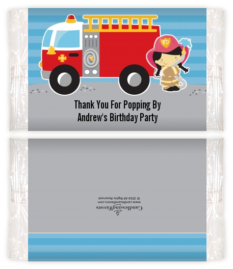 Future Firefighter - Personalized Popcorn Wrapper Birthday Party Favors Caucasian Boy