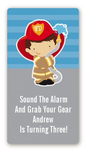 Future Firefighter - Custom Rectangle Birthday Party Sticker/Labels Caucasian Boy