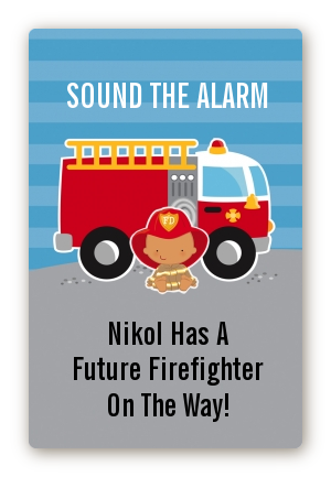 Future Firefighter - Custom Large Rectangle Baby Shower Sticker/Labels Caucasian