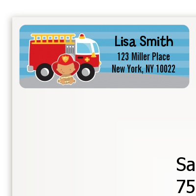 Future Firefighter - Baby Shower Return Address Labels Caucasian