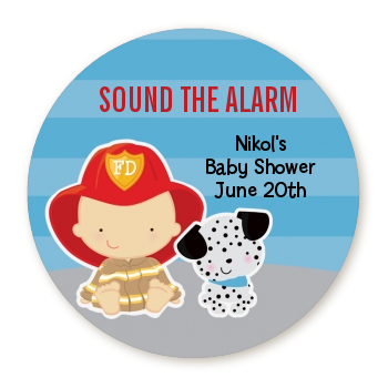 Future Firefighter - Round Personalized Baby Shower Sticker Labels Caucasian