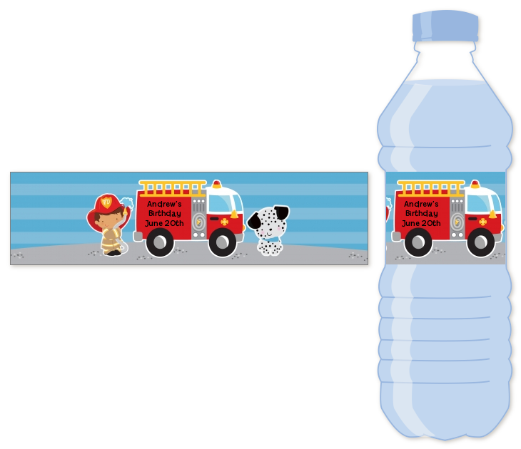 Future Firefighter - Personalized Birthday Party Water Bottle Labels Caucasian Boy