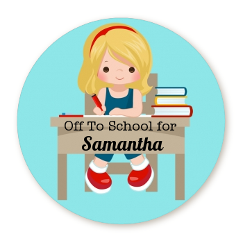 Girl Student - Round Personalized School Sticker Labels Option 1