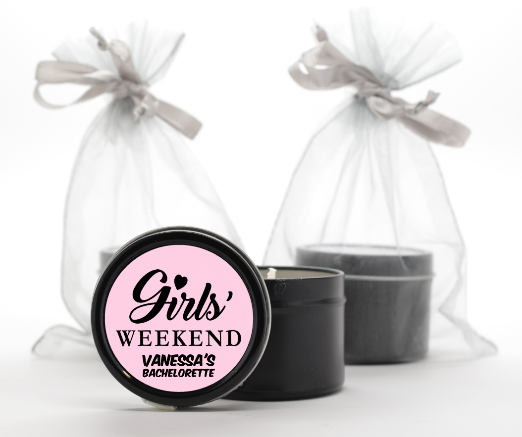 Custom Bridal Shower Black Candle Tin Favors