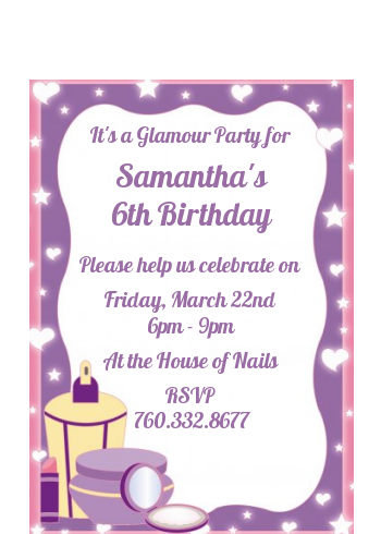 Glamour Girl - Birthday Party Petite Invitations
