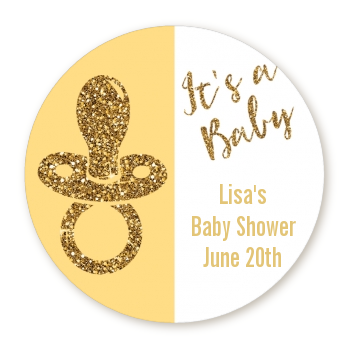 Gold Glitter Baby Pacifier - Round Personalized Baby Shower Sticker Labels