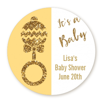 Gold Glitter Baby Rattle - Round Personalized Baby Shower Sticker Labels