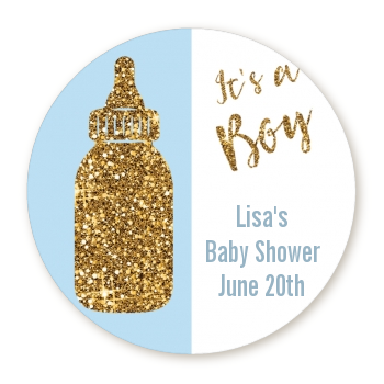 Gold Glitter Blue Baby Bottle - Round Personalized Baby Shower Sticker Labels