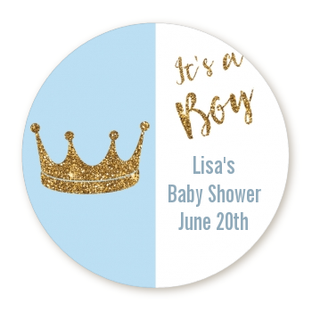 Gold Glitter Blue Crown - Round Personalized Baby Shower Sticker Labels Option 1