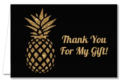 Gold Glitter Pineapple - Bridal Shower Thank You Cards