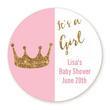 Gold Glitter Pink Crown - Round Personalized Baby Shower Sticker Labels Pink