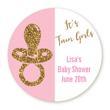 Gold Glitter Pink Pacifier - Round Personalized Baby Shower Sticker Labels Option 1