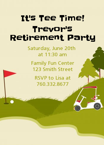Golf Cart Retirement Party Invitations | Candles and Favors