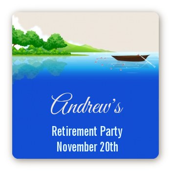 Gone Fishing - Square Personalized Retirement Party Sticker Labels
