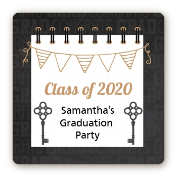 Grad Keys to Success - Square Personalized Graduation Party Sticker Labels