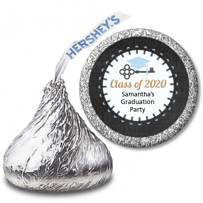 Grad Keys to Success - Hershey Kiss Graduation Party Sticker Labels Option 1