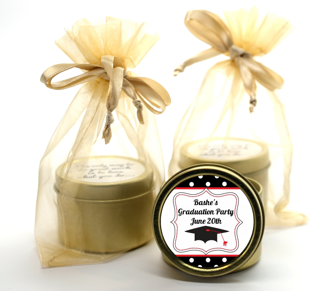 Graduation Cap Black & Red Gold Tin Candle Favors | Candles & Favors