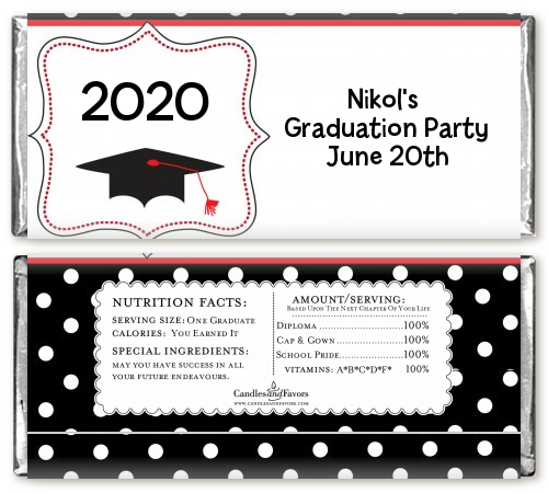 graduation cap black red graduation party candy bar wrappers