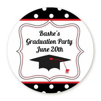 Graduation Cap Black & Red - Round Personalized Graduation Party Sticker Labels