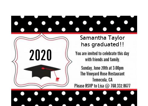 Graduation Cap Black Red Graduation Party Petite Invitations