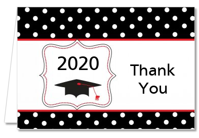 Graduation Cap Black & Red - Graduation Party Thank You Cards
