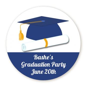 graduation cap blue personalized sticker labels graduation cap