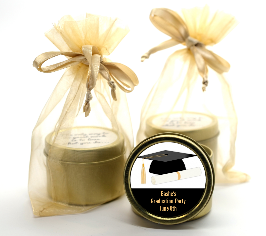 Graduation Cap Gold Tin Candle Favors