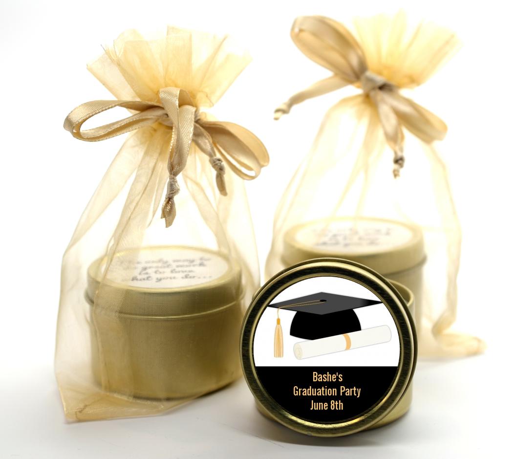Graduation Cap Gold Tin Candle Favors