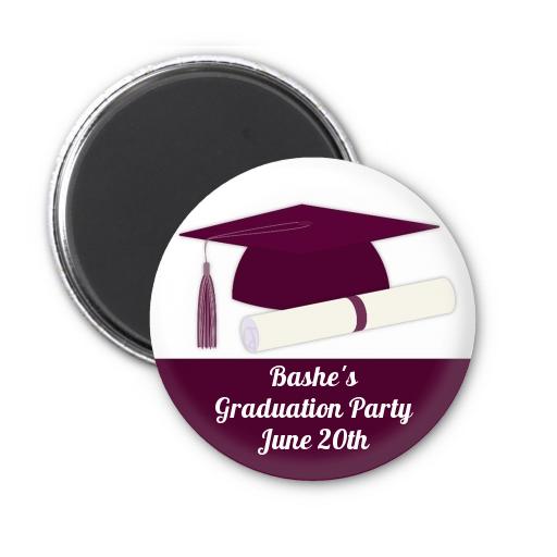 graduation cap maroon personalized graduation party magnet favors