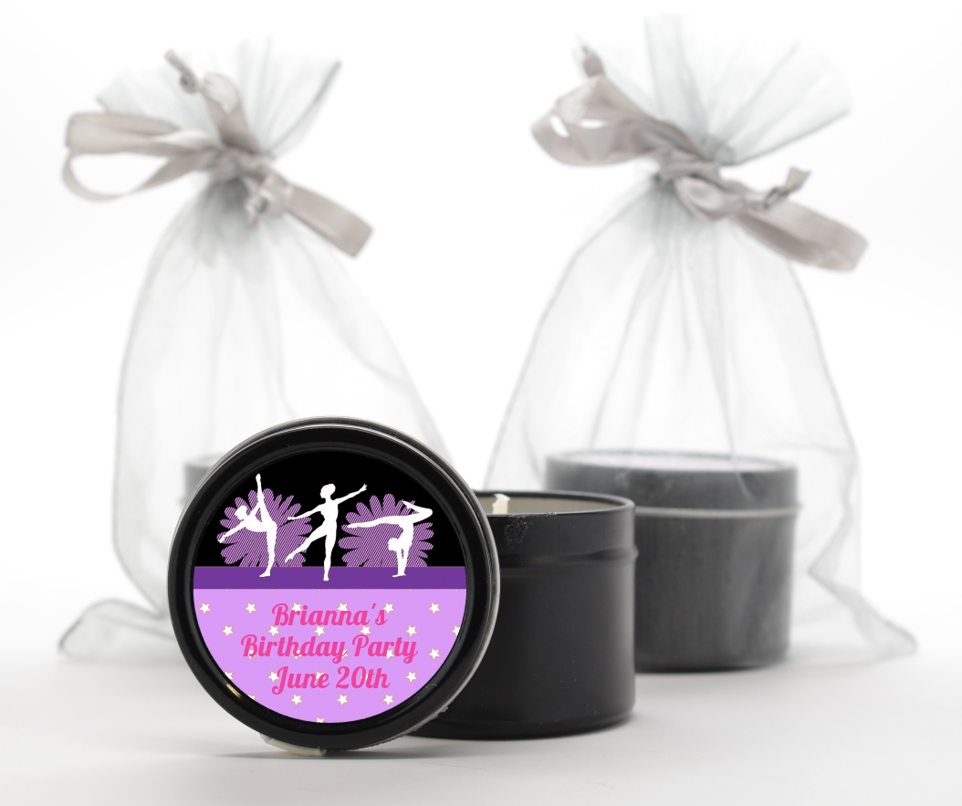Gymnastics - Birthday Party Black Candle Tin Favors Option 1