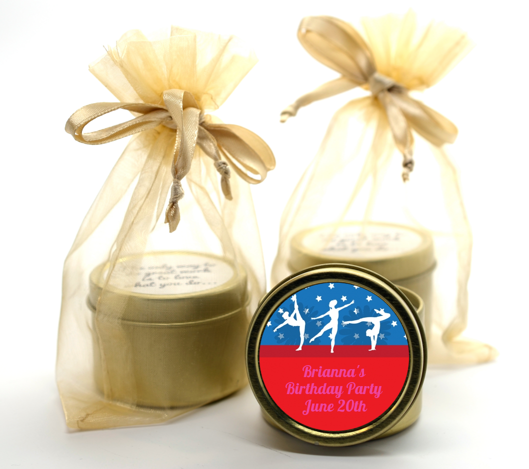 Gymnastics - Birthday Party Gold Tin Candle Favors Option 1
