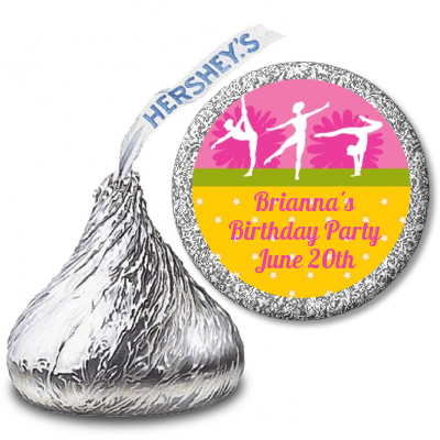 Gymnastics - Hershey Kiss Birthday Party Sticker Labels Option 1