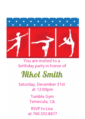 Gymnastics - Birthday Party Petite Invitations Pink/Green