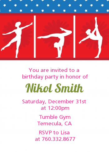 Gymnastics - Birthday Party Invitations Pink/Green