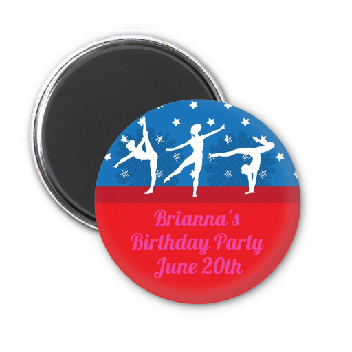 Gymnastics - Personalized Birthday Party Magnet Favors Option 1