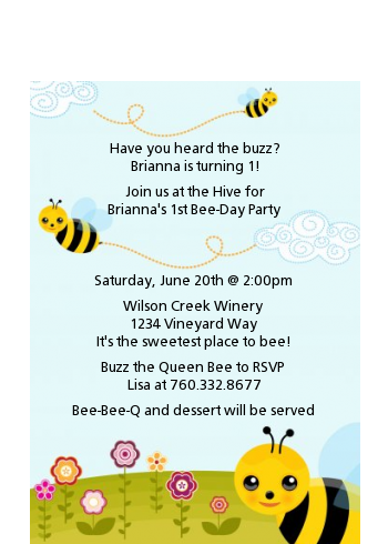Happy Bee Day - Birthday Party Petite Invitations