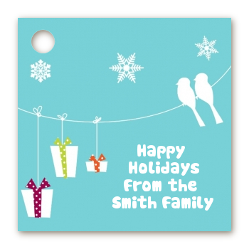 Happy Holidays on a String - Personalized Christmas Card Stock Favor Tags