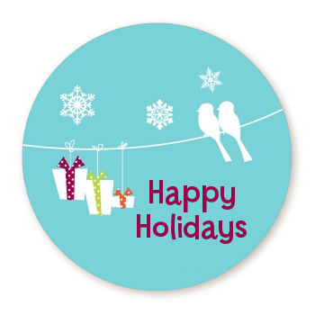 Happy holidays on a string round personalized christmas sticker labels