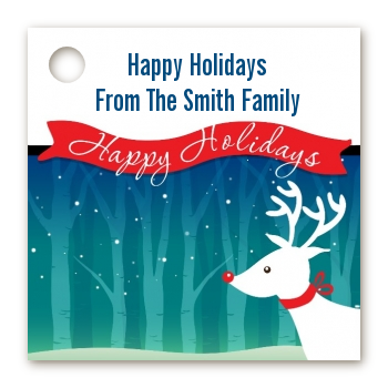 Happy Holidays Reindeer - Personalized Christmas Card Stock Favor Tags