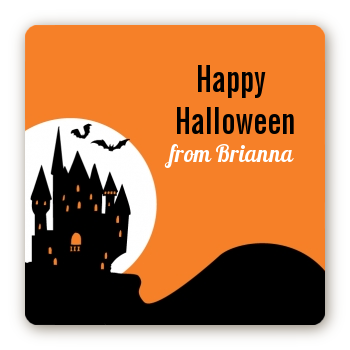 Haunted House - Square Personalized Halloween Sticker Labels