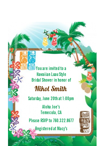 Hawaiian Luau - Bridal Shower Petite Invitations