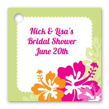 Hibiscus - Personalized Bridal Shower Card Stock Favor Tags