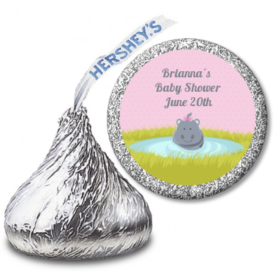 Hippopotamus Girl - Hershey Kiss Baby Shower Sticker Labels