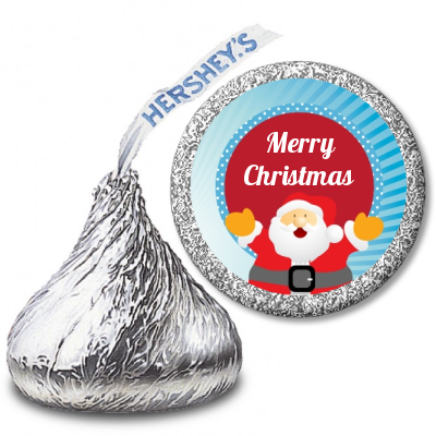 Ho Ho Ho Santa Claus - Hershey Kiss Christmas Sticker Labels