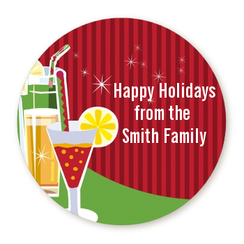 Holiday Cocktails - Round Personalized Christmas Sticker Labels