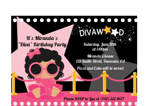 Hollywood Diva on the Pink Carpet - Birthday Party Petite Invitations Pink Carpet Black Hair