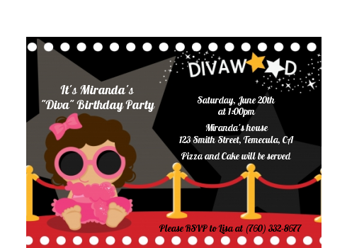 Hollywood Diva on the Red Carpet - Birthday Party Petite Invitations Black Hair
