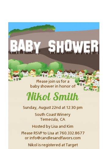 Hollywood Sign - Baby Shower Petite Invitations